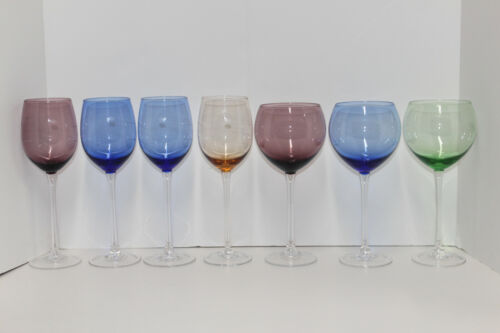 7 LENOX COLORED GEMS Wine Glasses; 3 Balloon & 4 Etched Dot; ALL MARKED & MINT