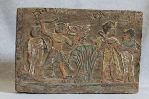 RARE EGYPTIAN EGYPT ANTIQUES Gods Wall STELA RELIEF Carved STONE BC