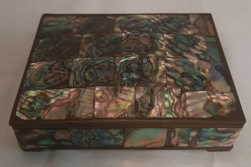 Vintage 60s Abalone And Brass Box