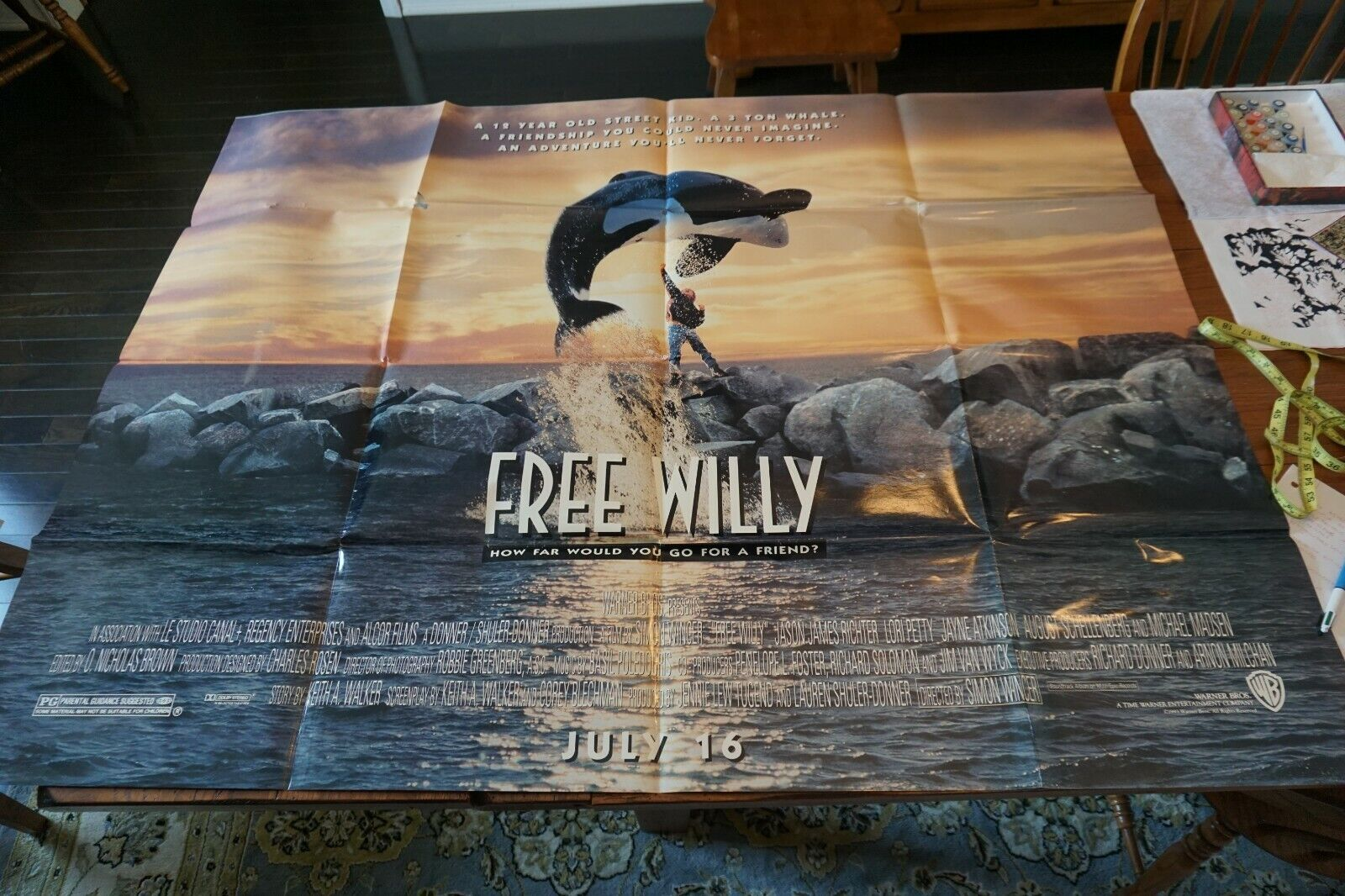 Free Willy Original Two Sheet Movie Poster Folded 45x60 5 Feet - $35.00