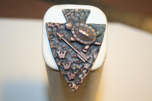 Boy Scout  Turtle, Arrow, & WWW   Metal Neckerchief Slide