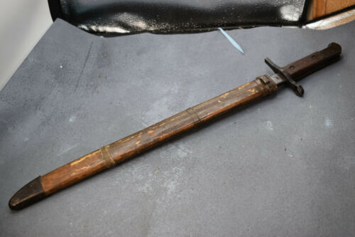 Arisaka Bayonet with w/ wood Scabbard Matsushita  Arsenal  used nice