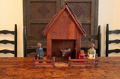 EARLY ANTIQUE FOLK ART AAFA HAND MADE ORIGINAL PAINT WOOD BARN STABLE WITH FENCE