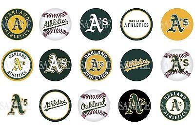 15 Pre-Cut Oakland Athletics 1 Inch Bottle Cap Images