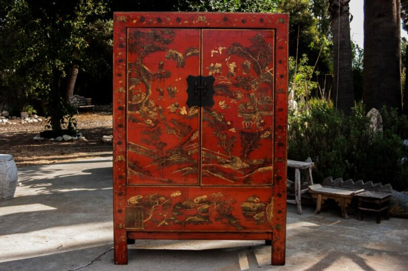 antique chinese red art cabinet