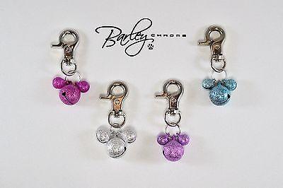 Triple Bell Dog Cat Pet Tag Collar Charm - Aqua, Fuchsia, Purple or Silver (Cat Bell Collar Charm)