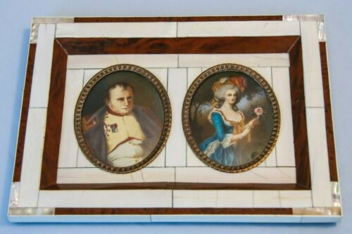 19 C Framed Hand Painted Miniature Portrait French Emperor Napoleon Marie Louise
