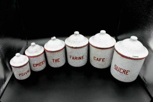 Vintage Set of 6 Red & White  French Enamelware Nesting Canisters