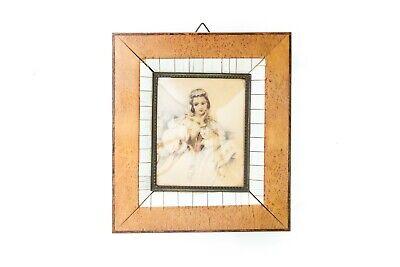 Quadro ritratto miniatura Dama cornice d'epoca in radica primi 900