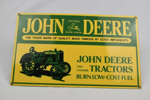 John Deere Tractor Advertising Sign Low Cost Fuel Porcelain Ande Rooney Repro