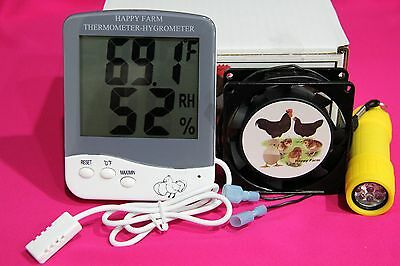 Incubator Forced Air Fan Kit  Digital Thermometerhygrometer Free Egg Candler