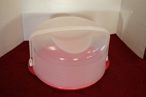 Tupperware Round Red Cake Holder Taker