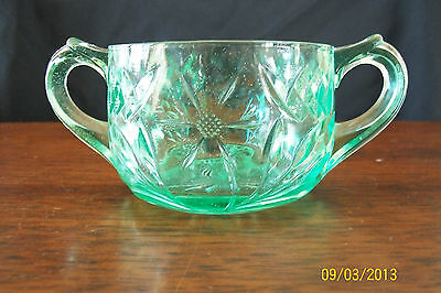 Uranium Depression Green U S Glass Floral and Diamond Sugar Bowl