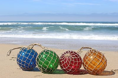 """12"""" Large Vintage Style Japanese Fishing Float ~ Glass with Rope Netting"""