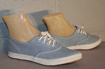 4 NOS GIRLS Vtg 70s LaCrosse Skamps Light BLUE CANVAS SNEAKER TENNIS Gym Shoe