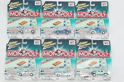 Johnny Lightning Monopoly Various Models Die Cast Metal Cars Lot Of 6