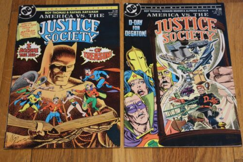 America vs The Justice Society #1 & 4 1985 JSA  Justice Society Of America Giant