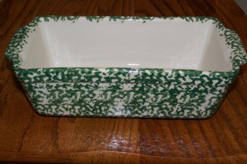 Vintage WORKSHOP of GERALD E HENN Green Spongeware Bread or Loaf Dish ~ NEW