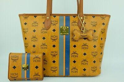 100% Authentic MCM Cognac Visetos Shopper Shoulder Bag With Matching Wallet
