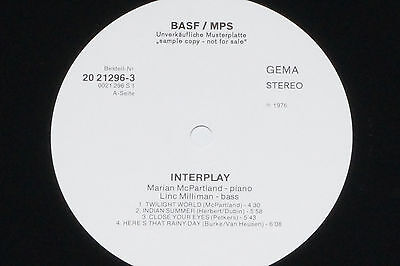 MARIAN MCPARTLAND, LINC MILLIMAN -Interplay LP BASF / MPS Promo Archiv-Copy mint