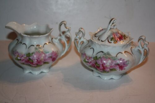 Antique Hand Painted Sugar and Creamer Set MZ Austria Pink Floral
