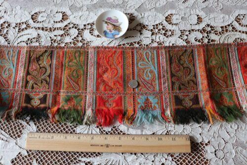 "Antique c1860-70 Brightly Colored Kashmir Paisley Shawl Border Fabric~54""X6"""
