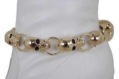 Women Gold Boot Chain Anklet Bracelet Heel Shoe Skeleton Charm Halloween Jewelry