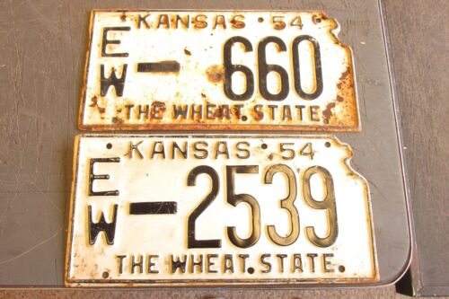 2 OLD  KANSAS LICENSE PLATE 1954     WHEAT STATE ELLSWORTH COUNTY