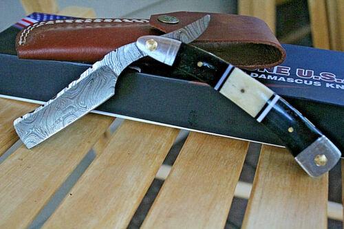 DR BONE USA Damascus Steel Shaving Straight Razor Blade Handmade Deer bone Metal