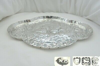 RARE VICTORIAN HM STERLING SILVER WINGED CHERUB DRESSING TABLE TRAY 1898