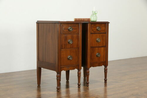 Pair of Antique Walnut Nightstands, Banderob Oshkosh #34178