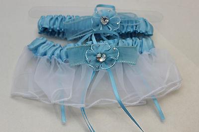 NEW light BLUE wedding bridal garter 2 pieces set toss keepsake