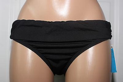 Bikinis Solid Ruched Bikini -  NEW Kenneth Cole Black Solid Ruched Sides Bikini Bottom XL XLarge RS6RS96