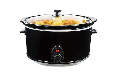 Andrew James 6.5Ltr Premium Black Slow Cooker Pot + Removable Ceramic Inner Bowl