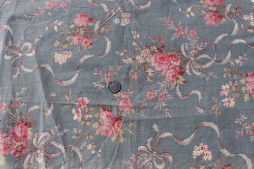 """Antique c1900 French Pink Roses & Ribbons On Blue Ground Fabric~L-16""""X W-15"""""""