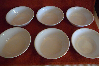 """6 Corning Corelle White Winter Frost 6 1/4"""" Cereal Soup Bowls -Appear UNUSED!"""