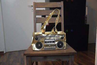 -BOOMBOX BAG GOLD- Damenhandtasche in Gold mit Boombox Print -XTRA COOL-