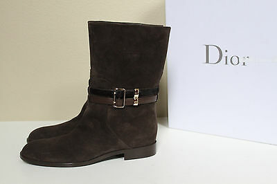 New sz 6.5 / 36.5 Christian Dior Brown Suede buckle strapped Logo Boot Shoes
