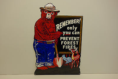 "SMOKEY THE BEAR STEEL ENAMEL REMEMBER ONLY YOU CAN PREVENT  SIGN 21""X 14 1/4"""
