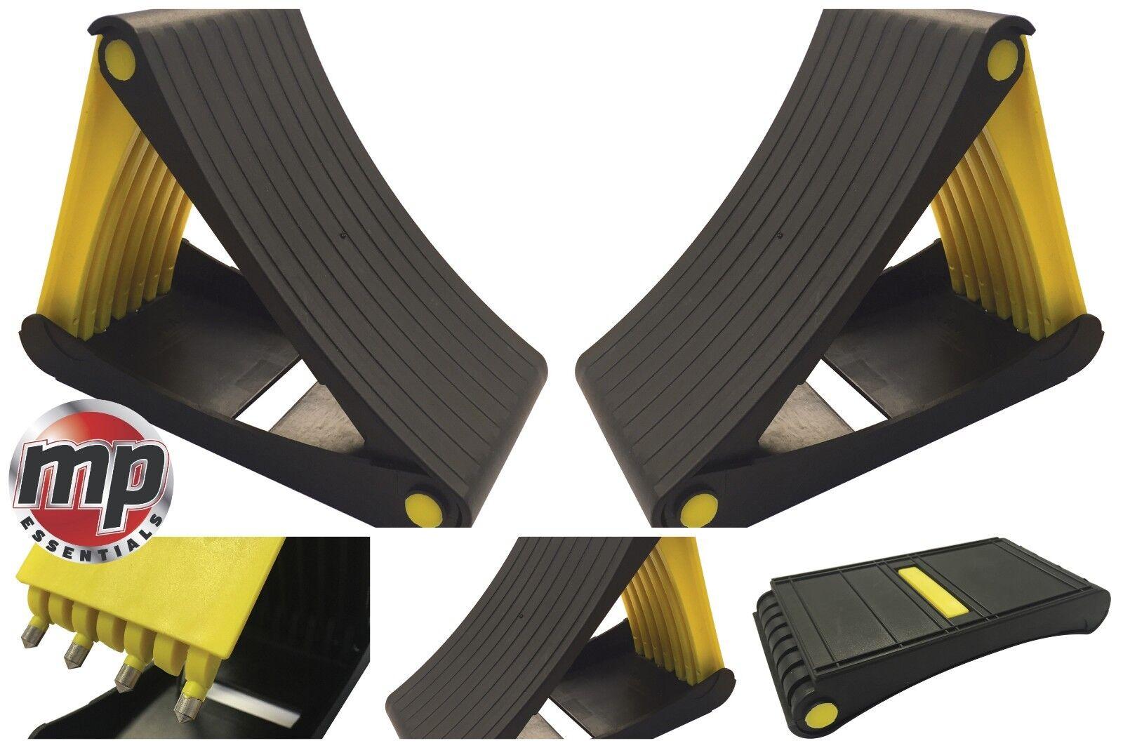 2 x Leisurewize Foldable Caravan Motorhome Car Trailer Wheel Chocks with Spikes