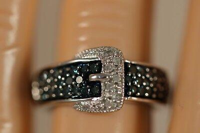 DESIGNER V3 10K WHITE GOLD .60CT WHITE BLUE DIAMOND BELT BUCKLE ART DECO RING