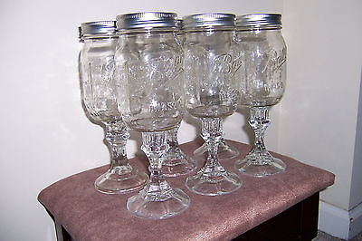 Mason Jar Hillbilly Wine Glasses - Set of 6 - Great for gifts, parties, picnics