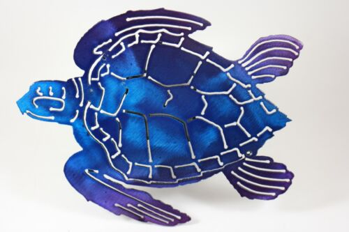 Turtle trailer hitch cover blue and purple