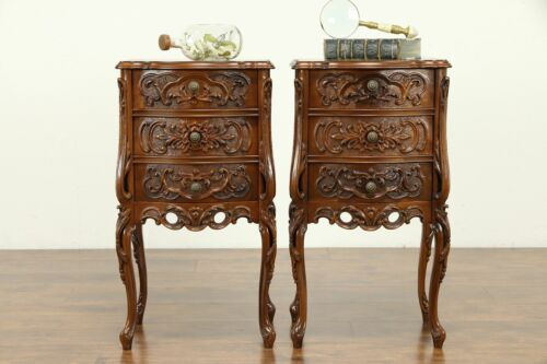 Pair Antique Carved Walnut French Style Nightstands or Lamp Tables #31458