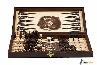 THE KINGDOM Wooden Chess + Backgammon + Draughts Set 35cm STUNNING HAND...