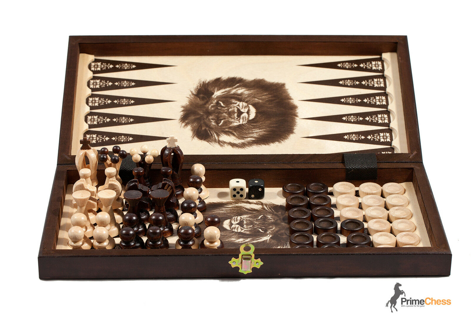 THE KINGDOM Wooden Chess + Backgammon + Draughts Set 35cm STUNNING HAND CRAFTED!