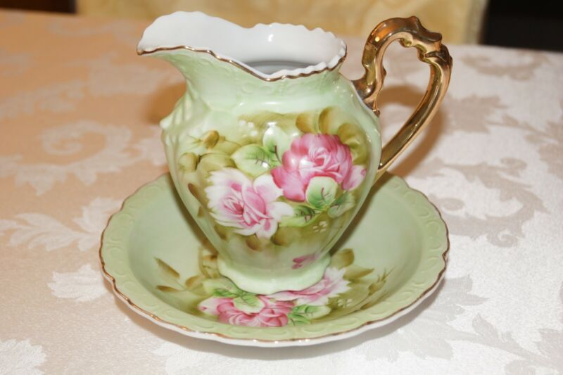 Lefton Heritage Green Jug and Bowl set 16 ounce