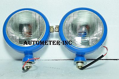 Ford Tractor Head Light Set Lh  Rh 12 V Blue With Bulb