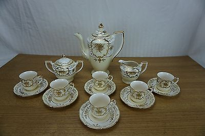 1920's Japanese Moriyama Mori-Machi Hand Painted Gold Coffee Set 17 pcs ***READ