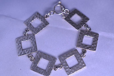 - STERLING SILVER HAND HAMMERED OPEN SQUARE HEAVY BRACELET 23.9 GRAMS TOGGLE CLASP